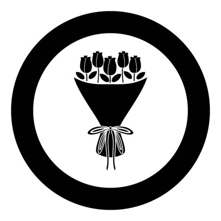 Bouquet of flowers Bouquet of roses Present concept Bouquet of rose flower icon in circle round black color vector illustration flat style simple image