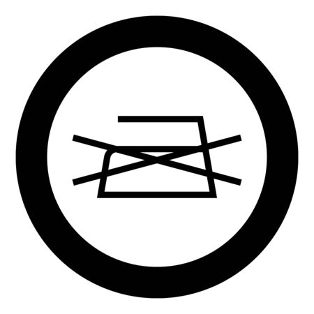 Prohibited Ironing is not allowed Clothes care symbols Washing concept Laundry sign icon in circle round black color vector illustration flat style simple image Çizim