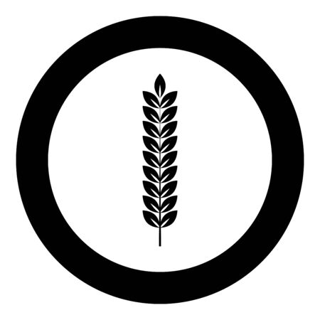 Spikelet of wheat Plant branch icon in circle round black color vector illustration flat style simple image