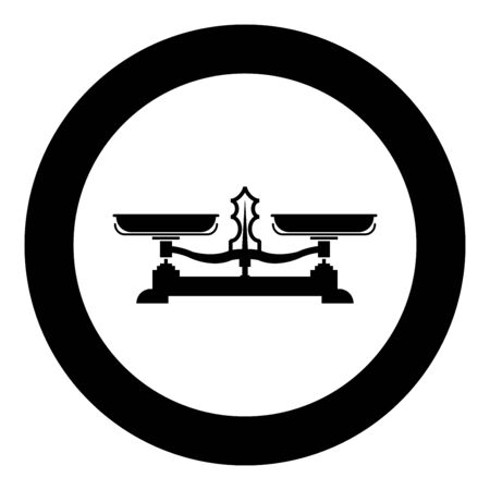 Balancing scales Store weigher Libra icon in circle round black color vector illustration flat style simple image