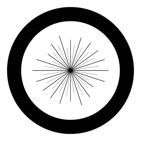 Sun rays Sunbeam concept icon in circle round black color vector illustration flat style simple image Çizim