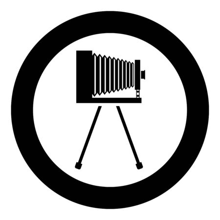 Retro camera on tripod Vintage analog film camera Old photo camera icon in circle round black color vector illustration flat style simple image