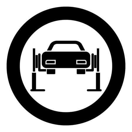 Car lift Car repair Service concept Car on fix lift Car lifted on auto lift icon in circle round black color vector illustration flat style simple image