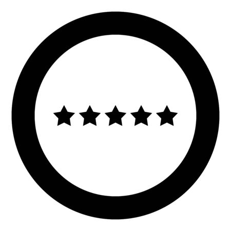 Five stars 5 stars rating concept icon in circle round black color vector illustration flat style simple image