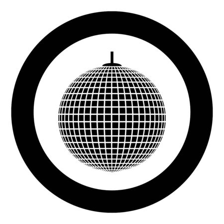Disco sphere suspended on line rope Discotheque ball Retro night clubs symbol Concept nostalgic party icon in circle round black color vector illustration flat style simple image Çizim
