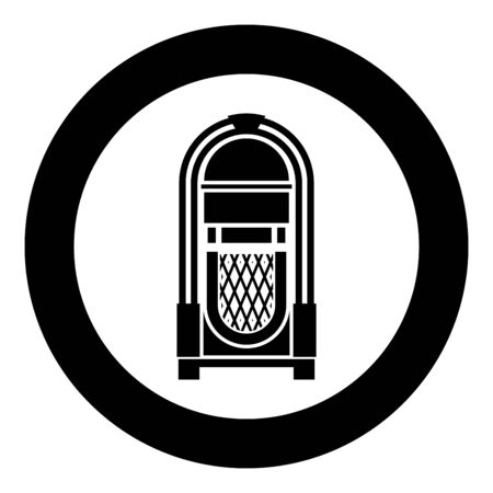 Jukebox Juke box automated retro music concept vintage playing device icon in circle round black color vector illustration flat style simple image