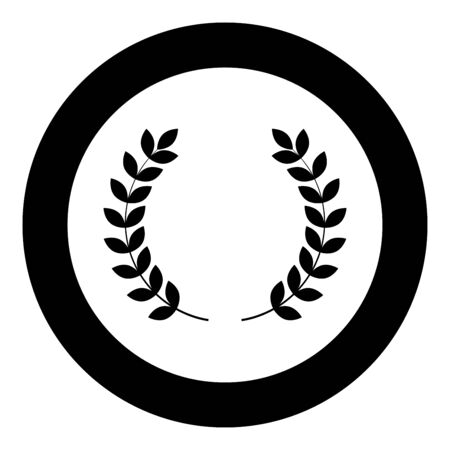 Branch of winner Laurel wreaths Symbol of victory icon in circle round black color vector illustration flat style simple image Çizim