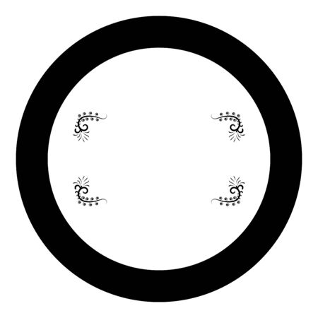 Froral board Art frame icon in circle round black color vector illustration flat style simple image Çizim