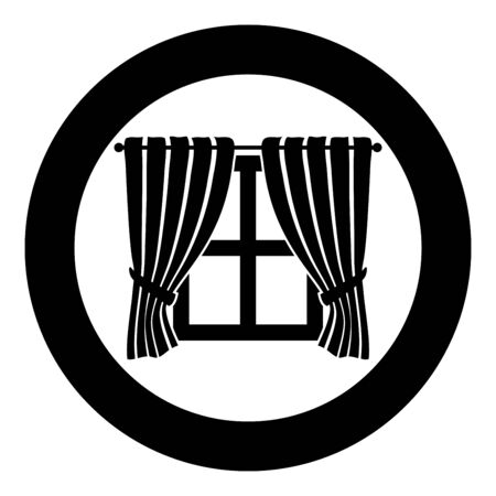 Curtains and window Interior concept Home window view decoration Waving curtains on window icon in circle round black color vector illustration flat style simple image