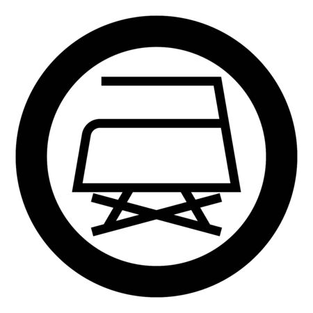 Prohibited Ironing is not allowed with steam Clothes care symbols Washing concept Laundry sign icon in circle round black color vector illustration flat style simple image Çizim