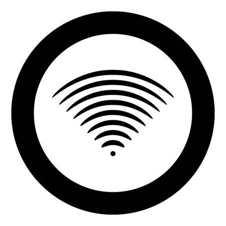 Radio wave Sound signal One dirrection Transmitter icon in circle round black color vector illustration flat style simple image Çizim