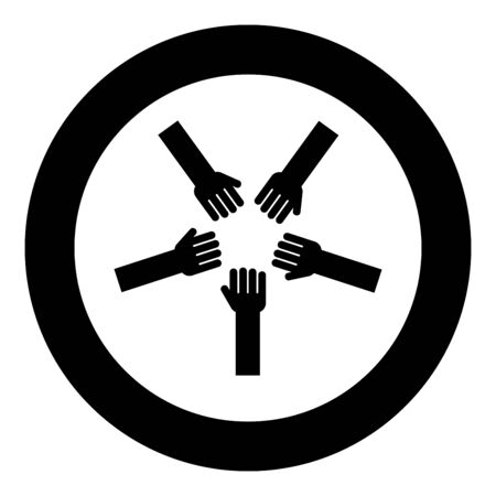Five hands Group arms Many hands connecting Open palms People putting their hands together Stack hands concept unity icon in circle round black color vector illustration flat style simple image