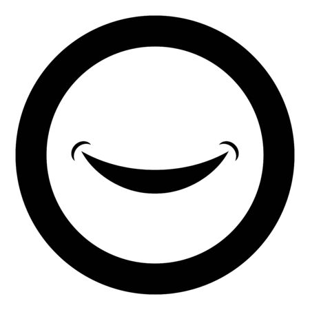Smile Smlie doodle icon in circle round black color vector illustration flat style simple image