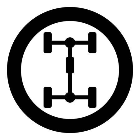 Undercarriage Chassis Carriage for car Vehicle frame icon in circle round black color vector illustration flat style simple image