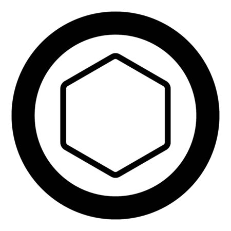 Hexagon shape element icon in circle round black color vector illustration flat style simple image