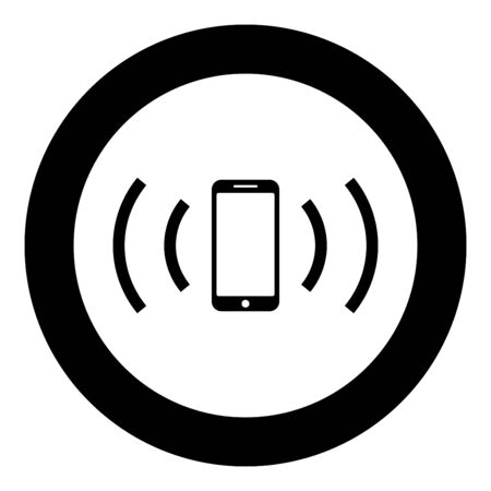 Smartphone emits radio waves Sound wave Emitting waves concept icon in circle round black color vector illustration flat style simple image