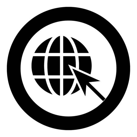 Earth ball and arrow Global web internet concept Sphere and arrow Website symbol icon in circle round black color vector illustration flat style simple image