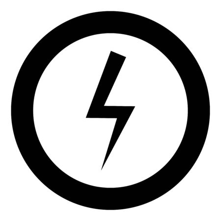 Lightning bolt Electric power Flash thunderbolt icon in circle round black color vector illustration flat style simple image