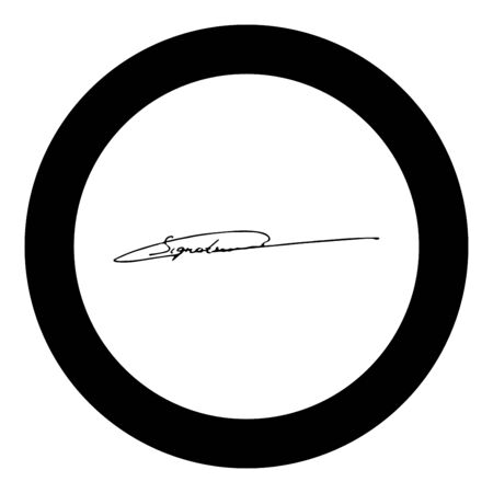 Signature handwriting icon in circle round black color vector illustration flat style simple image