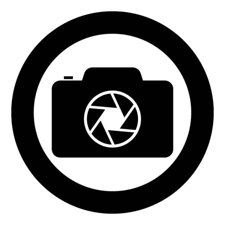 Camera with focus of lens concept icon in circle round black color vector illustration flat style simple image Çizim
