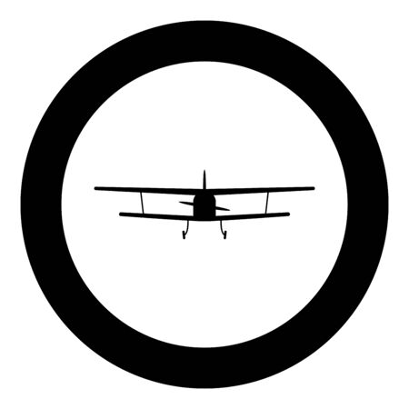 Airplane view with front Light aircraft civil Flying machine icon in circle round black color vector illustration flat style simple image
