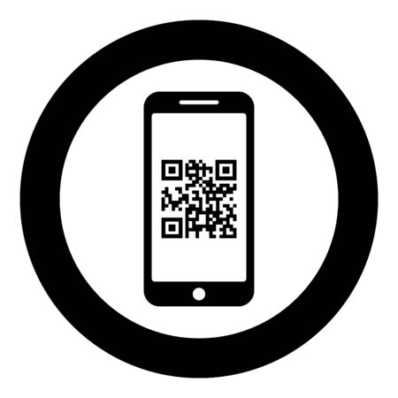 Smartphone with QR code on screen icon in circle round black color vector illustration flat style simple image