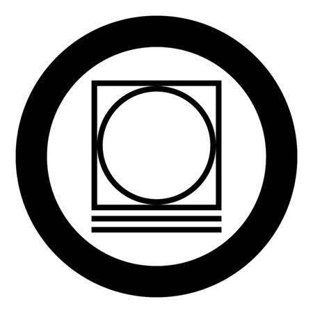 Drum drying in machine delicate mode Clothes care symbols Washing concept Laundry sign icon in circle round black color vector illustration flat style simple image Çizim