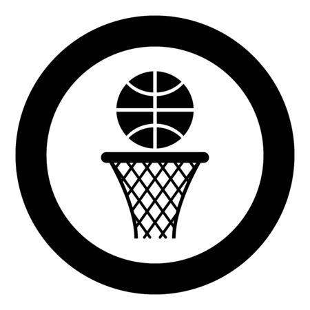 Basketball basket and ball Hoop net and ball icon in circle round black color vector illustration flat style simple image Çizim