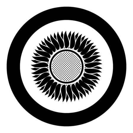 Sunflower icon in circle round black color vector illustration flat style simple image Çizim