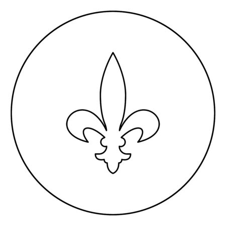 Heraldic symbol Heraldry liliya symbol Fleur-de-lis Royal french heraldry style icon in circle round outline black color vector illustration flat style simple image