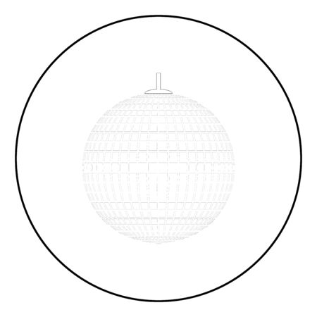 Disco sphere suspended on line rope Discotheque ball Retro night clubs symbol Concept nostalgic party icon in circle round outline black color vector illustration flat style simple image Çizim