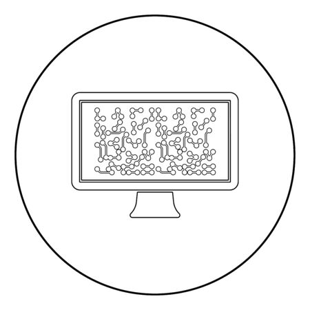 Screen with the scheme Technology concept icon in circle round outline black color vector illustration flat style simple image Illustration