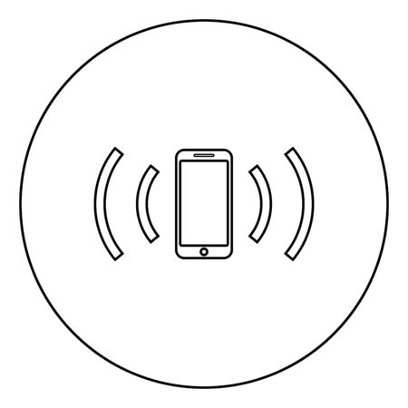 Smartphone emits radio waves Sound wave Emitting waves concept icon in circle round outline black color vector illustration flat style simple image