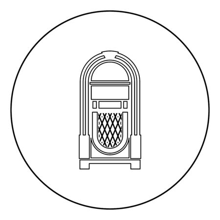 Jukebox Juke box automated retro music concept vintage playing device icon in circle round outline black color vector illustration flat style simple image Ilustrace