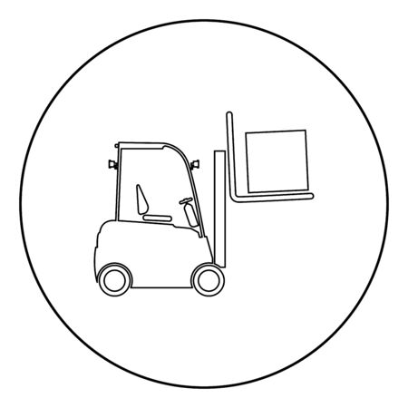 Forklifts truck Lifting machine Cargo lift machine Cargo transportation concept icon in circle round outline black color vector illustration flat style simple image