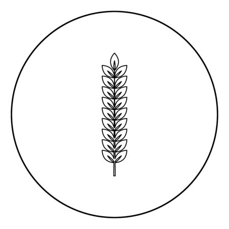 Spikelet of wheat Plant branch icon in circle round outline black color vector illustration flat style simple image