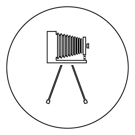 Retro camera on tripod Vintage analog film camera Old photo camera icon in circle round outline black color vector illustration flat style simple image