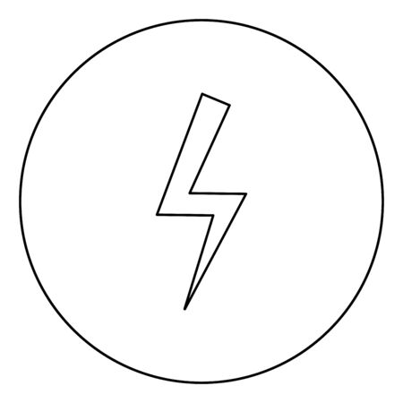 Lightning bolt Electric power Flash thunderbolt icon in circle round outline black color vector illustration flat style simple image Stock fotó - 132069494