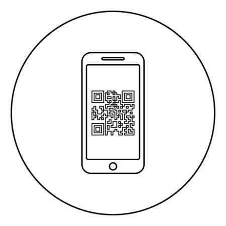 Smartphone with QR code on screen icon in circle round outline black color vector illustration flat style simple image