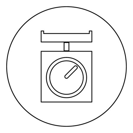 Kitchen scales Domestic weigh scales Weighing scales with pan Kitchen appliances icon in circle round outline black color vector illustration flat style simple image