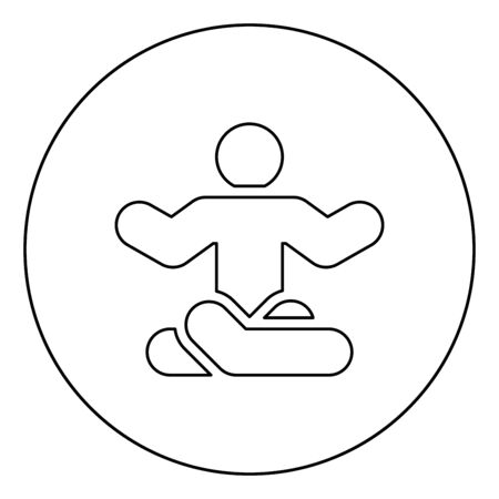 Man in yoga pose icon in circle round outline black color vector illustration flat style simple image