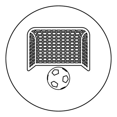 Soccer ball and gate Penalty concept Goal aspiration Big football goalpost icon in circle round outline black color vector illustration flat style simple image Ilustracja