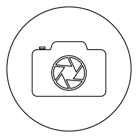 Camera with focus of lens concept icon in circle round outline black color vector illustration flat style simple image