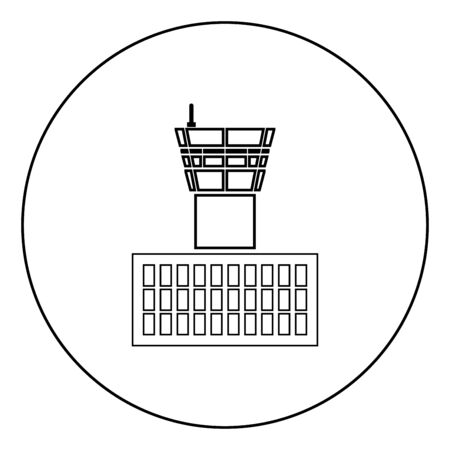 Airport control tower Airport Building Flight control tower icon in circle round outline black color vector illustration flat style simple image Çizim