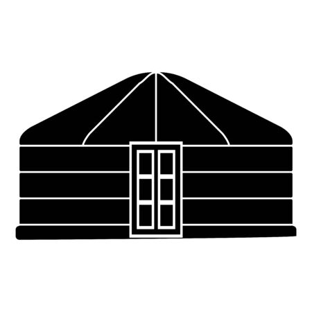 Yurt of nomads Portable frame dwelling with door Mongolian tent covering building icon black color vector illustration flat style simple image