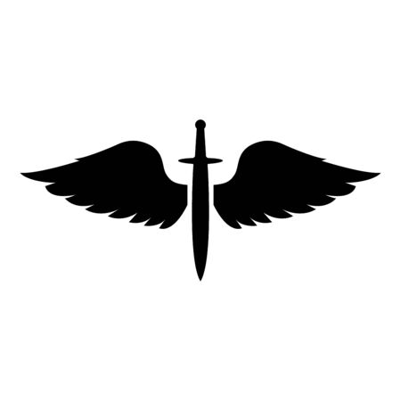Wings and sword symbol cadets Winged blade weapon medieval age Warrior insignia Blazon bravery concept icon black color vector illustration flat style simple image Vector Illustration