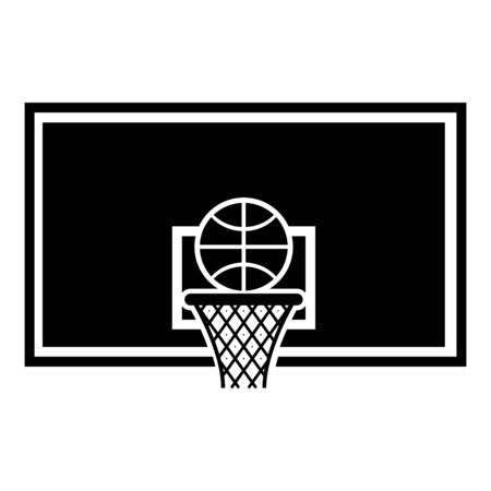 Basketball hoop and ball Backboard and grid basket icon black color vector illustration flat style simple image