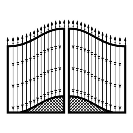 Forged gates icon black color vector illustration flat style simple image