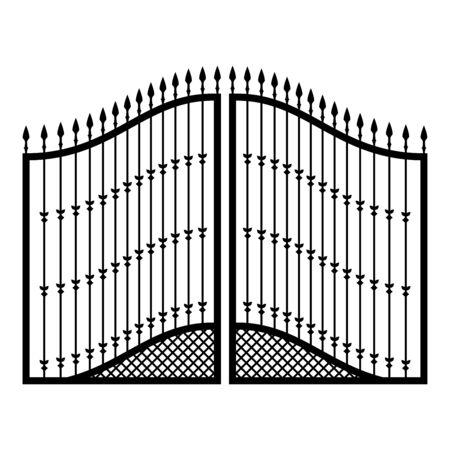 Icono de puertas forjadas de color negro ilustración vectorial tipo plano simple imagen