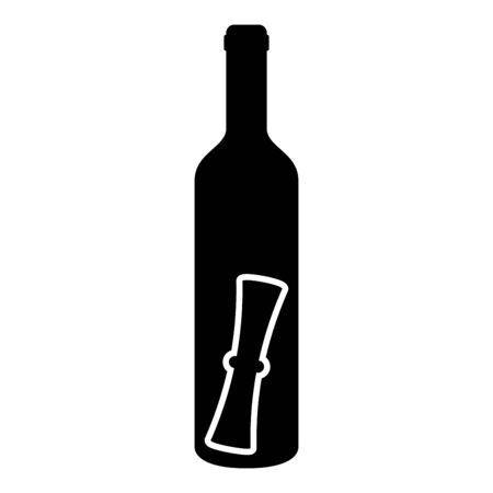 Bottle with letter Message concept Folded scroll document in old container icon black color vector illustration flat style simple image Vettoriali